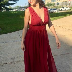 Burgundy Chiffon Occasion Dress